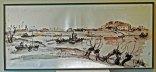 "Jits Bakker, ""Veerpont"", zeefdruk, 112 x 50 cm."