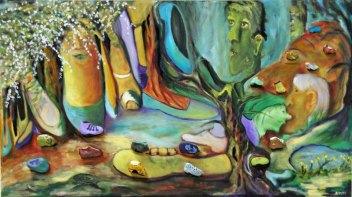 """Anne-Maria Waterreus, """"Val de renard"""", olieverf op canvas op paneel met kiezelstenen, 80 x 45 cm."""