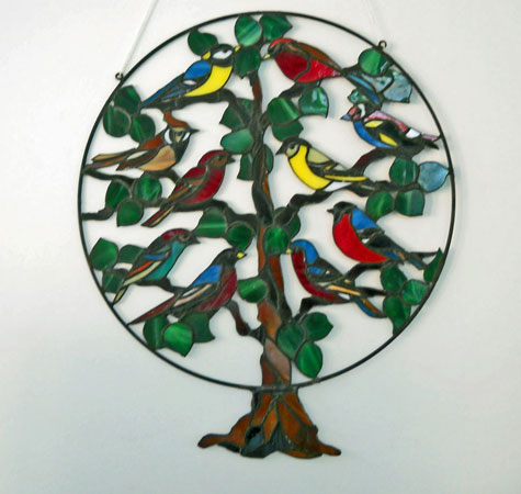 """Harm van Kamp, """"Vogelparadijs"""", Tiffany, 35 x 40 cm. Te Koop."""