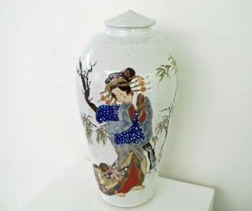 """Han Boerrigter, """"Geisha en bamboe"""", pot met deksel, Ø 21 cm, hoog 41 cm, met certificaat."""