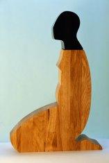 """Beata Stankiewicz-Szczerbik, """"Japonisme"""", oak wood, kiln cast glass, grounded, polished, 32x54x9 cm, 7 kg."""