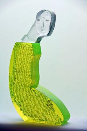 """Beata Stankiewicz-Szczerbik, """"Uranium"""", kiln cast glass, grounded, polished, 28x49x8 cm, 17 kg."""