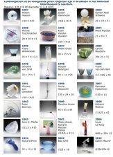 Het historisch overzicht van de 25 glasobjecten.