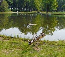 """Met de """"Libelle"""" op het land en de """"Silly Bird"""" op het water geeft Ellen Kuijl een beeld van hoe glaskunst het Park kan doen opleven."""