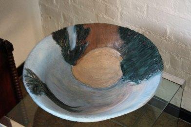 """Ria Pastoor, """"Blauwe schaal"""", keramiek, 41x14x41 cm."""