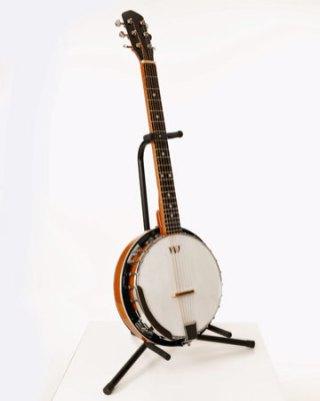 "Wil Wessels, ""Banjo"" glazen instrument, gefused en geslumped glas, 34 x 100 cm."