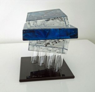 Lubomir Ferko, Blue Diagonal, crystal glass & composition glass, 13 x 16 cm.