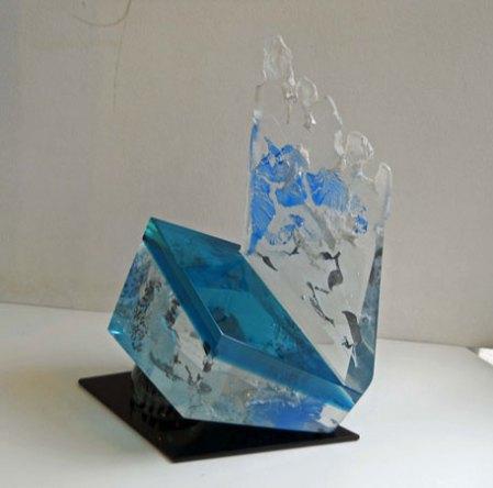 Lubomir Ferko, Open Space - Blue, crystal glass & composition glass, 41 x 33 cm.