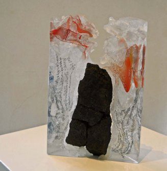 Lubomir Ferko, Spiritual Body, crystal glass & stone, 32 x 21 cm.