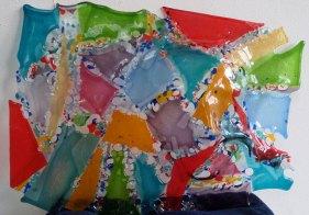 """Candida van Nugteren, """"Face like a book"""", 3 panelen, gefused, geslumped, gebrandschilderd, 45 x 45, 2014."""