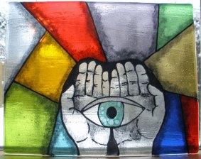 """Candida van Nugteren, """"Joop"""", gefused en gebrandschilderd 40 x 35, samengesteld paneeltje, 2012."""