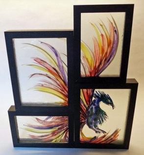 """""""Phoenix 1"""", Animals under construction, samengesteld, ingelijst, meerdere lagen gebrandschilderd glas, 35 x 30 cm"""