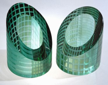 "Katharine Coleman, UK, ""Canary Wharf Paperweights"", wheel engraved, 10x9x9 cm."