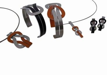 Nautisch Design, Oorsieraden, Armband en Hanger aan ketting, edelstaal en gekleurd geanodiseerd aluminium; ook in zwart, blauw, rood, goudgeel, paars en groen.