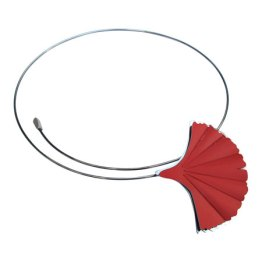 Spang van edelstaal met blad van gekleurd geanodiseerd aluminium; in rood, zwart, blauw en goudgeel.
