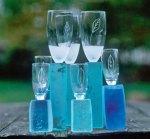 'Kieliszki' - Wij nglas stam gefused en gesmolten glas, samengesteld, hoogte van alle glazen 20 - 27 cm.