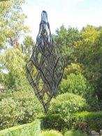 Weefkunst 'Zwart-wit 19-07-05' Linnen, centrumophang, 70x70 cm.