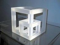 """""""Kubus in Kubus"""", optisch kristal, 16x16 cm."""