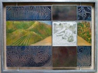 Herinnering aan Herman Gordijn - emaille en glasplaten - 63 x 48 cm