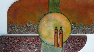 Samen emaill met brons en glas - 39 x 79 cm