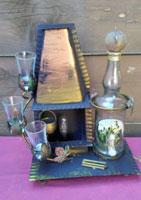 Openhaard, glas en ijzer, hoog 40 cm.