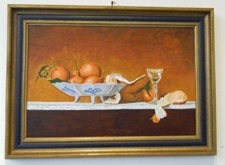 Schaal met sinaasappels - olieverf op paneel, 60 x 40 cm.