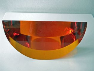 Schijf Oranje middel - Tsjechisch optisch kristal, diam.23, hoogte 13 cm.