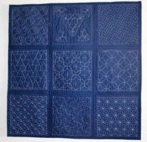 Sashiko quilt - Blauwe katoen met sashiko techniek handmatig doorgequilt. De blokken aan elkaar gezet middels techniek: quilt as you go, 95 x 95 cm