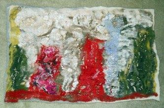 Wandkleed Natuur - meerdere lagen naaldvilt - vele kleuren versierd met kant en zijde en uitgesneden, 70x45 cm.