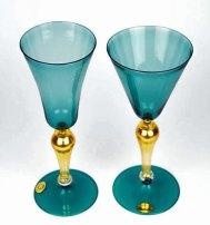 Oceaanglazen met 24 krt gouden blad, Cordella & Ballarin, handgeblazen goblets in Murano.