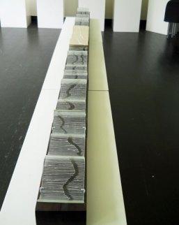 Beweging, vormgesmolten glas, keramiek en hout, 300 x 15 x 12 cm.