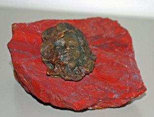 Kop-op!Presse-papier, brons op Jaspis.