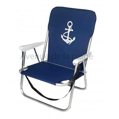 chaise de plage basse pliante ancre en aluminium