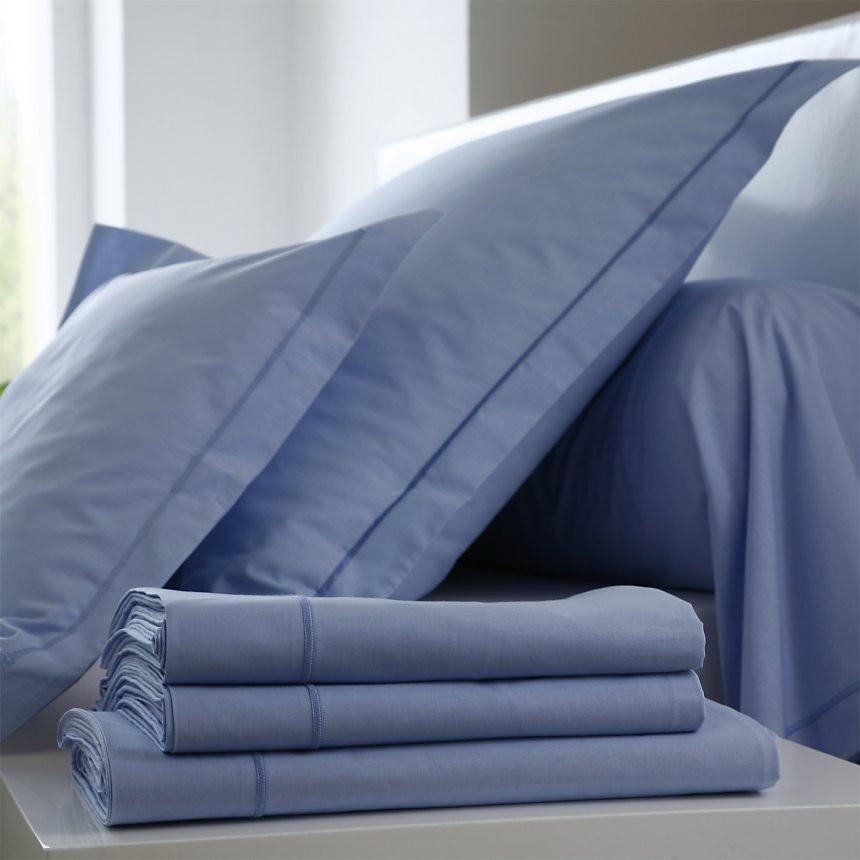 Drap Housse 100 Coton Blanc Des Vosges 70x190 1 Pers Bleu Ciel Coton Bdv
