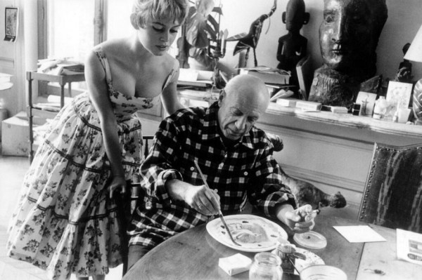 Brigitte Bardot visits Pablo Picasso at his studio near Cannes in 1956