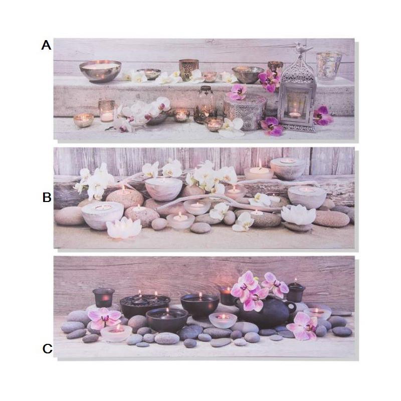 Tableau Toile Zen Bougie Et Orchidee 90 X 30 Cm