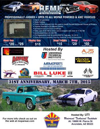 The H.E.M.I show is back, Saturday, March 7th, 2015. 8 AM -3 PM. UTI, Universal Technical Institute, 10695 W. Pierce St, Avondale, AZ 85323