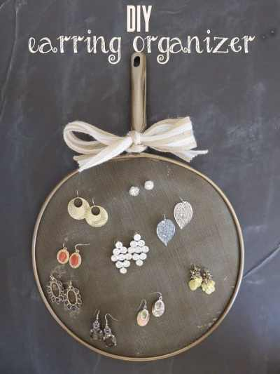 Dollar Tree splatter screen to earring organizer. {Average But Inspired}