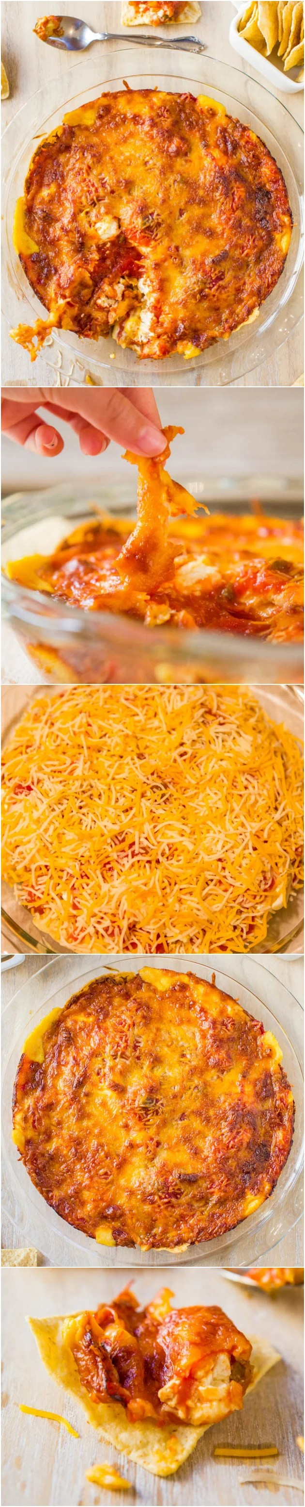 Baked Triple Cheese & Salsa Tortilla Chip Dip - Loaded with 3 kinds of cheese & baked to browned, bubbly, golden perfection! Always a hit at parties & great for Superbowl! Easy recipe at averiecooks.com