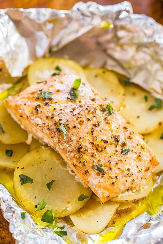 Salmon And Potato Foil Packet