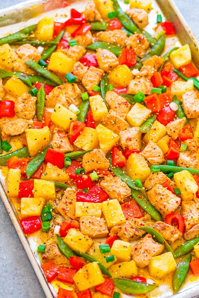 Sheet Pan Pineapple Teriyaki Chicken — Fast, EASY, and loaded with fabulous teriyaki flavor! Tender chicken, juicy pineapple, and crisp-tender veggies make make for a DELISH one-pan meal with zero cleanup.
