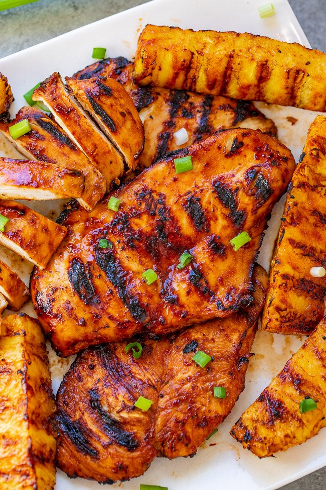 Hawaiian Grilled Chicken and Pineapple — Transports you to Hawaii with every bite of this tender, juicy chicken and the grilled pineapple seals the deal!! EASY, HEALTHY, ready in 10 minutes, and perfect for summer parties, barbecues, and casual weeknight dinners!!