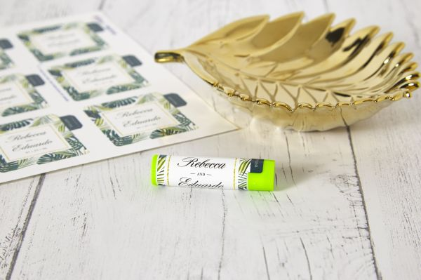 Tropical-themed lip balm wedding favors with Avery WePrint Lip Balm Labels