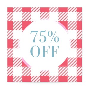 Gingham tablecloth print square label templates