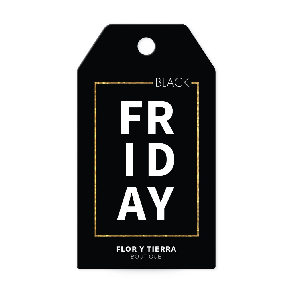 Avery Black with Gold Frame Customizable Banner Tag template for Black Friday