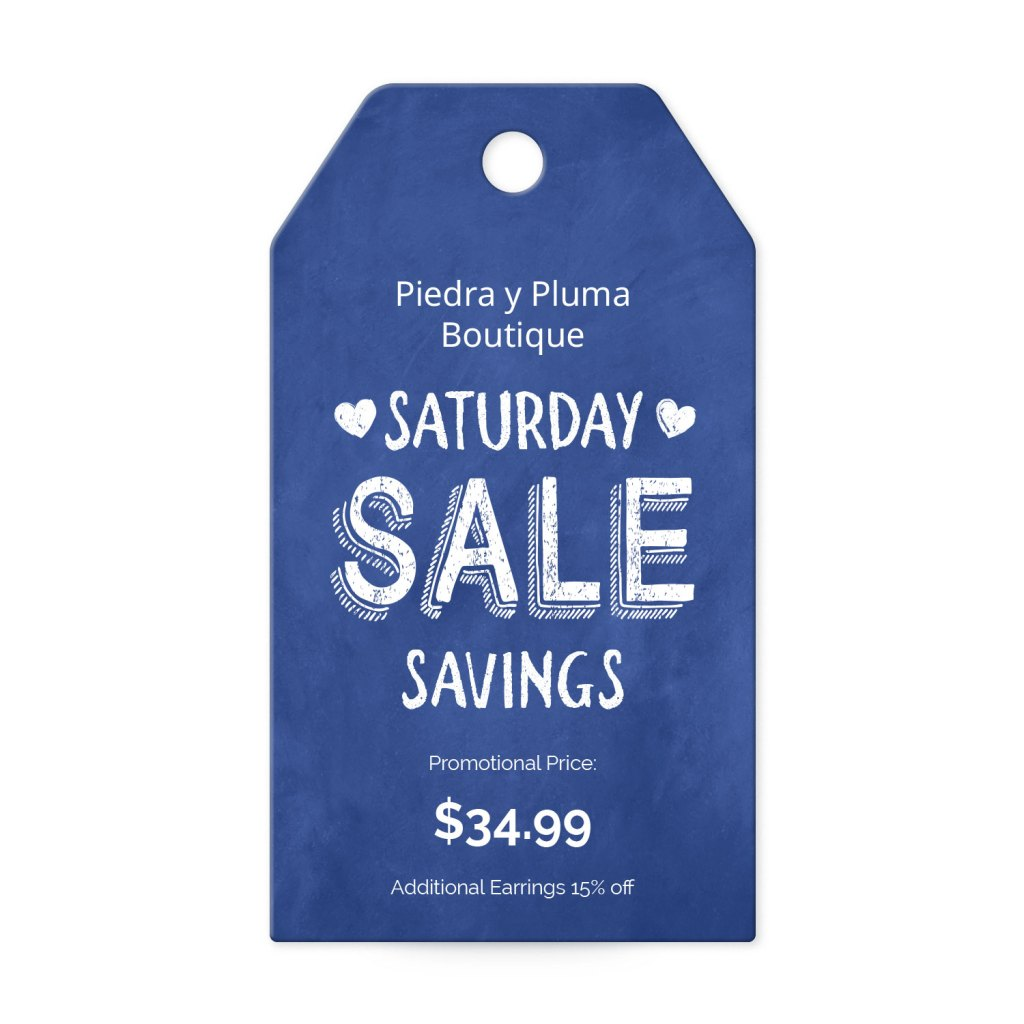 Avery Blue and White Heart Customizable Banner Tag template for Small Business Saturday