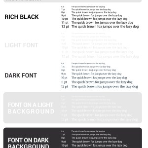 Samples of Roboto and Lora font sizes printed on different backgrounds