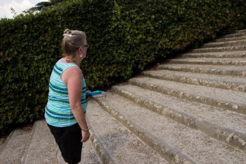 Mama climbing stairs