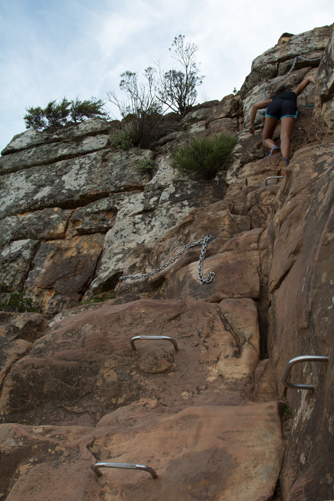cape town lions head mountain hiking rungs