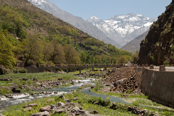 morocco atlas mountains with river